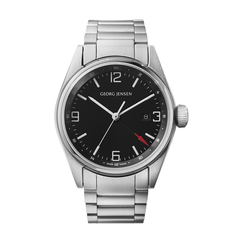 Delta Classic - 42 mm, Quartz, Gmt, Black Dial, Steel Bracelet