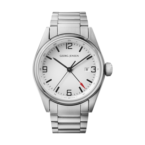 Delta Classic - 42 mm, Quartz, Gmt, White Dial, Steel Bracelet