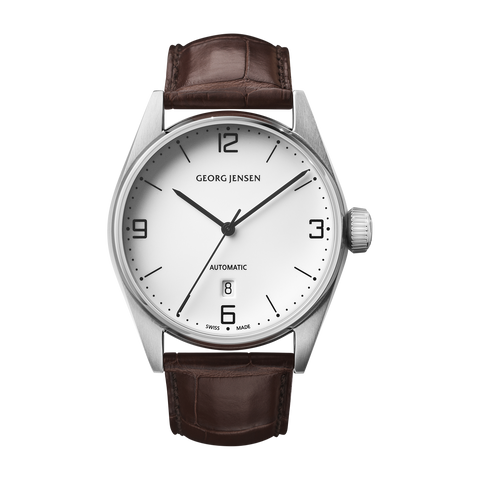 Delta Classic - 42 mm, Automatic Mechanical, White Dial, Brown Calf Strap
