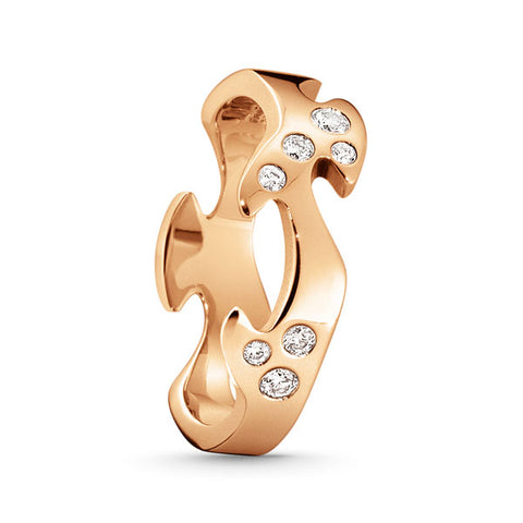 Fusion Centre Ring - 18 Kt. Rose Gold With Brilliant Cut Diamonds