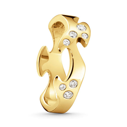 Georg Jensen Fusion Centre Ring - 18 Kt. Yellow Gold With Diamonds