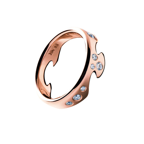 Fusion End Ring - 18 Kt. Rose Gold With Diamonds