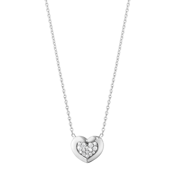 Aurora Heart Pendant - 18 Kt. White Gold With Brilliant Cut Diamonds