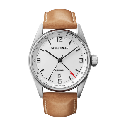 Delta Classic - 42 mm, Automatic Mechanical, Gmt, White Dial, Brown Calf Strap