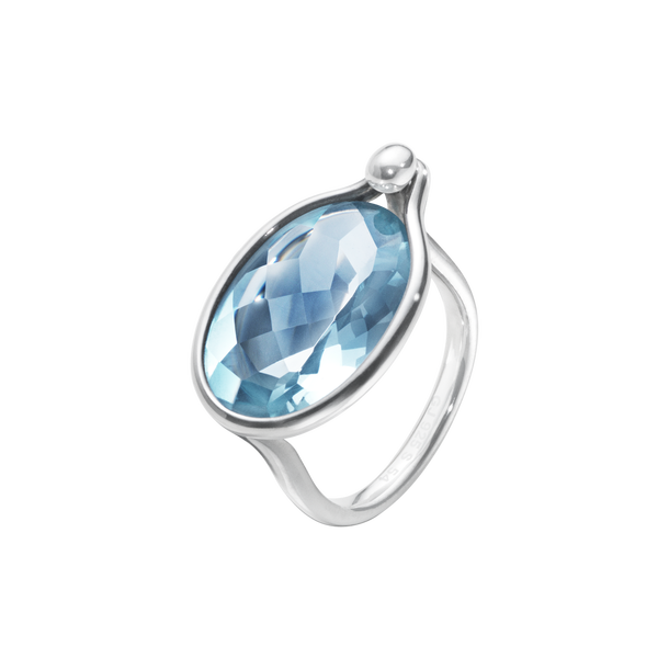 Savannah Ring - Sterling Silver With Blue Topaz, Large