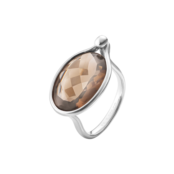 Savannah Ring - Sterling Silver With Smokey Quartz, Large