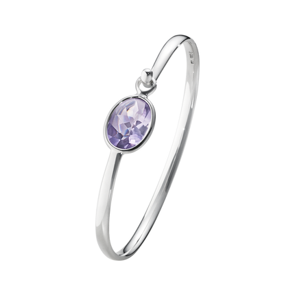 Savannah Bangle - Sterling Silver With Amethyst