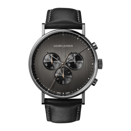 Koppel - 41 mm, Quartz, Dark Grey Dial, Black Leather Strap