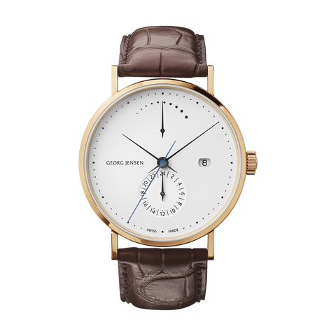 Koppel - 41 mm, Power Reserve GMT Automatic, White Dial/Gold Trim, Brown Alligator Strap