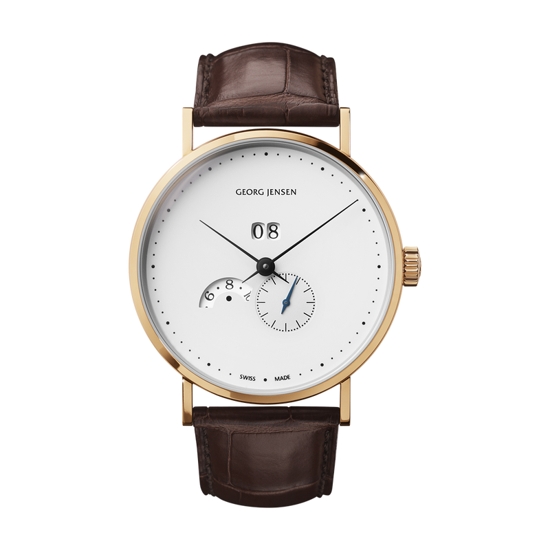 Koppel - 41 mm, Grande Date Annual Calendar, Automatic, White Dial/Gold Trim, Brown Alligator Strap