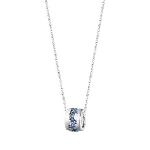 Fusion Pendant - 18 Kt. White Gold With Blue Sapphire Paví©