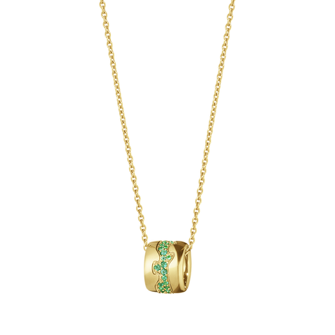 Fusion Pendant - 18 Kt. Yellow Gold With Emerald Paví©