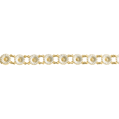 Daisy Bracelet - Gold Plated Sterling Silver With White Enamel