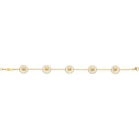 Daisy Bracelet - Gold Plated Sterling Silver With White Enamel, 18 Cms