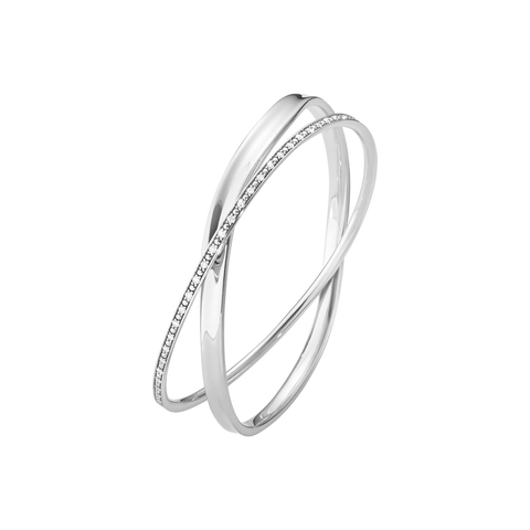 Marcia Double Bangle- Sterling Silver With Brilliant Cut Diamonds
