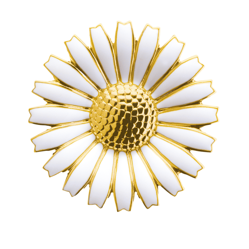 Daisy Brooch/Pendant - Gold Plated Sterling Silver With White Enamel