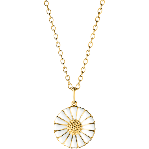 Daisy Pendant - Gold Plated Sterling Silver With White Enamel 18 mm