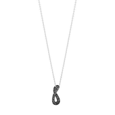 Infinity Pendant - Sterling Silver And Black Diamond Pave