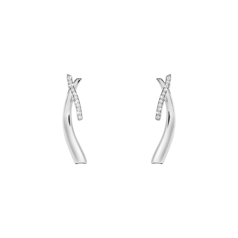 Marcia Long Earrings - Sterling Silver With Brilliant Cut Diamonds