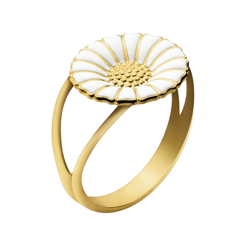 Daisy Ring - Gold Plated Sterling Silver With White Enamel