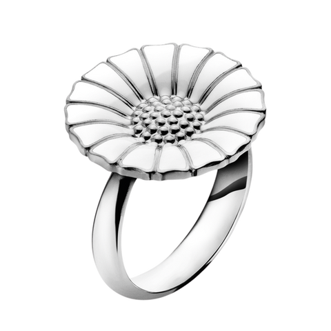 Daisy Ring - Rhodinated Sterling Silver With Enamel