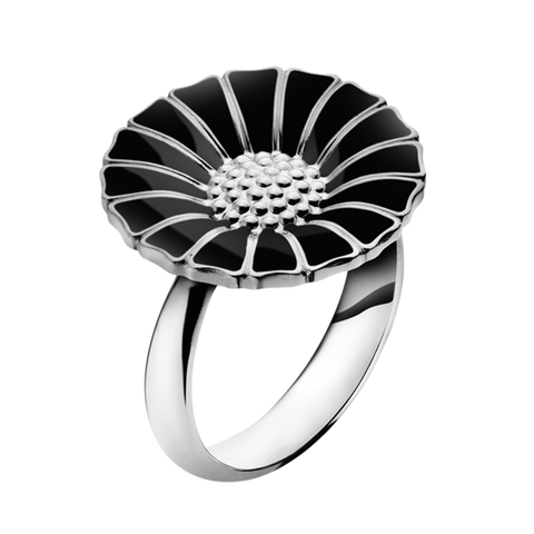 Daisy Ring - Rhodinated Sterling Silver With Black Enamel