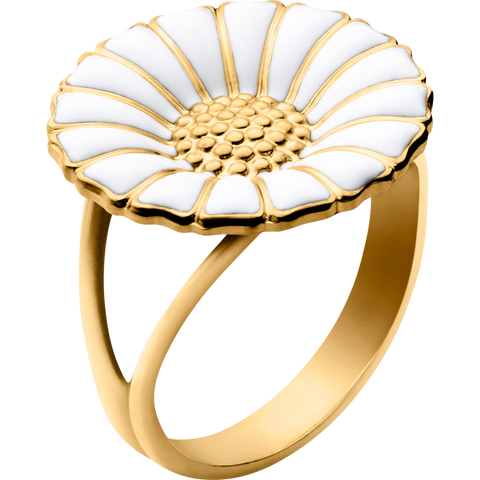 Daisy Ring - Gold Plated Sterling Silver With White Enamel, 18mm