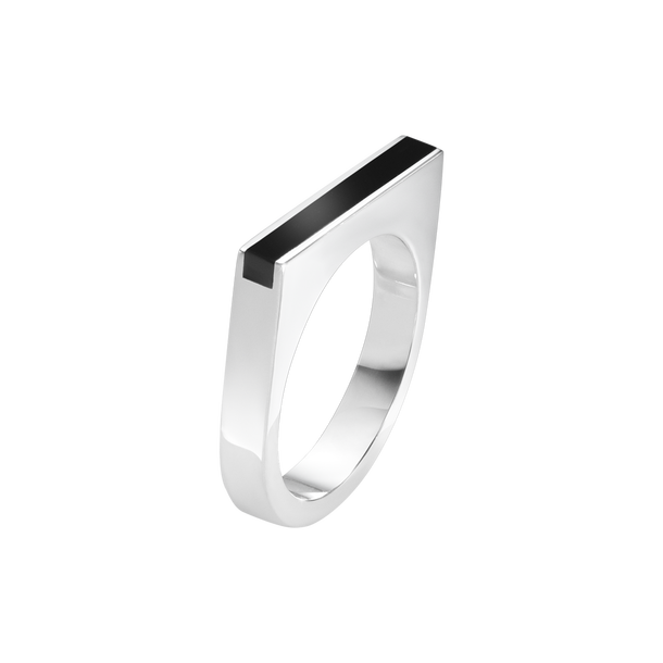 Aria Slim Ring - Sterling Silver And Black Onyx