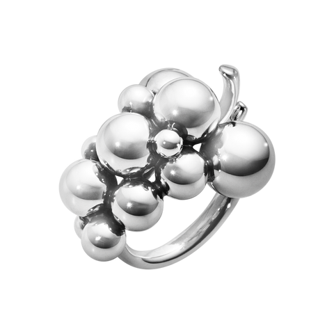 Moonlight Grapes Ring - Oxidised Sterling Silver, Medium