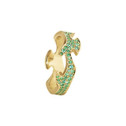 Fusion Pave Centre Ring - 18 Kt. Yellow Gold With Emeralds