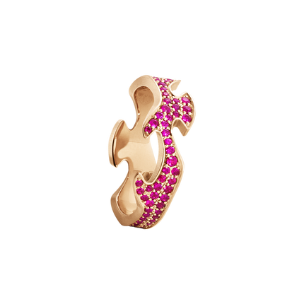 Fusion Pave Centre Ring - 18 Kt. Rose Gold With Ruby