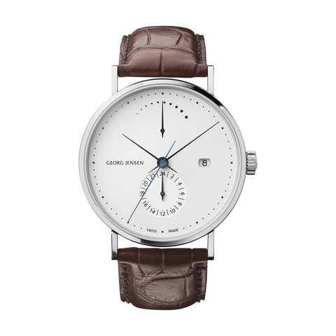Koppel - 41 mm, Power Reserve GMT Automatic, White Dial, Brown Alligator Strap
