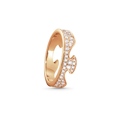 Fusion End Ring - 18kt. Rose Gold With Diamond Pave
