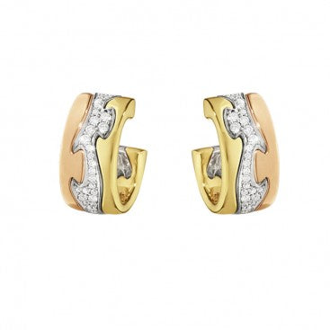 Fusion Earrings - Yellow, Rose And White Gold With Diamond Pave