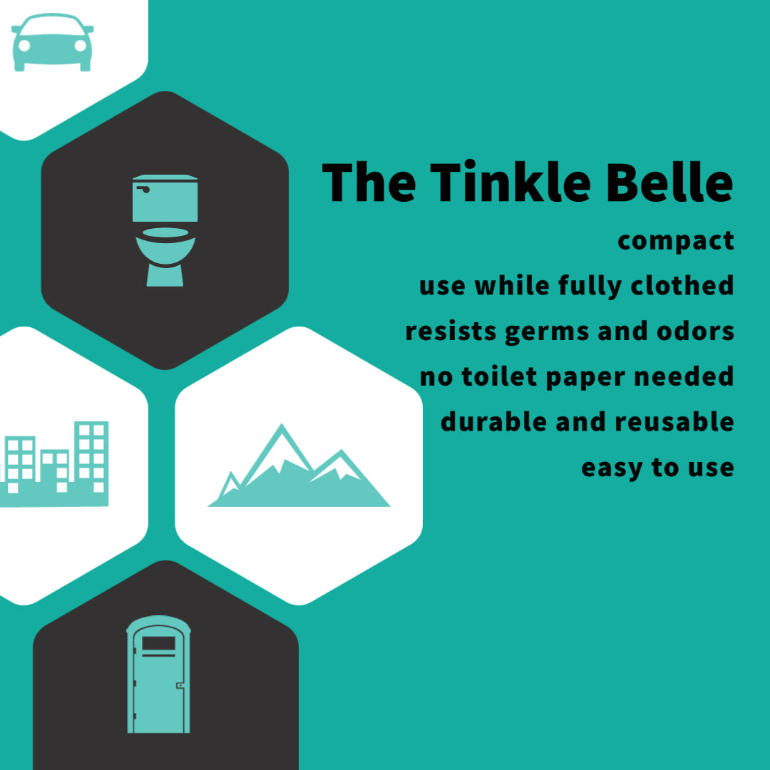 The Tinkle Belle is compact, reusable, resists germs and odors, no toilet paper needed, easy to use, and you can use it while remaining fully clothed!