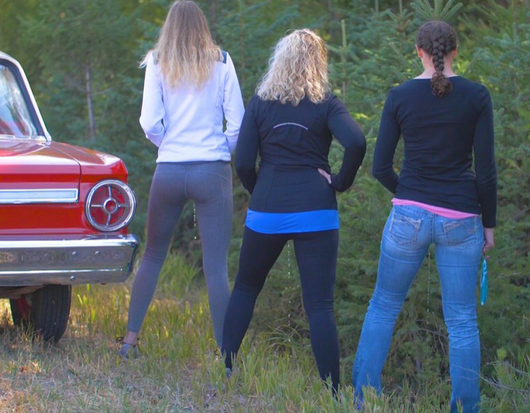 Women peeing while standing