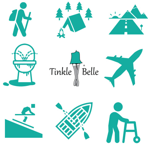 The Tinkle Belle female urination device is used while hiking camping roadtrips airplane travel mobility issues boating skiing dirty restrooms