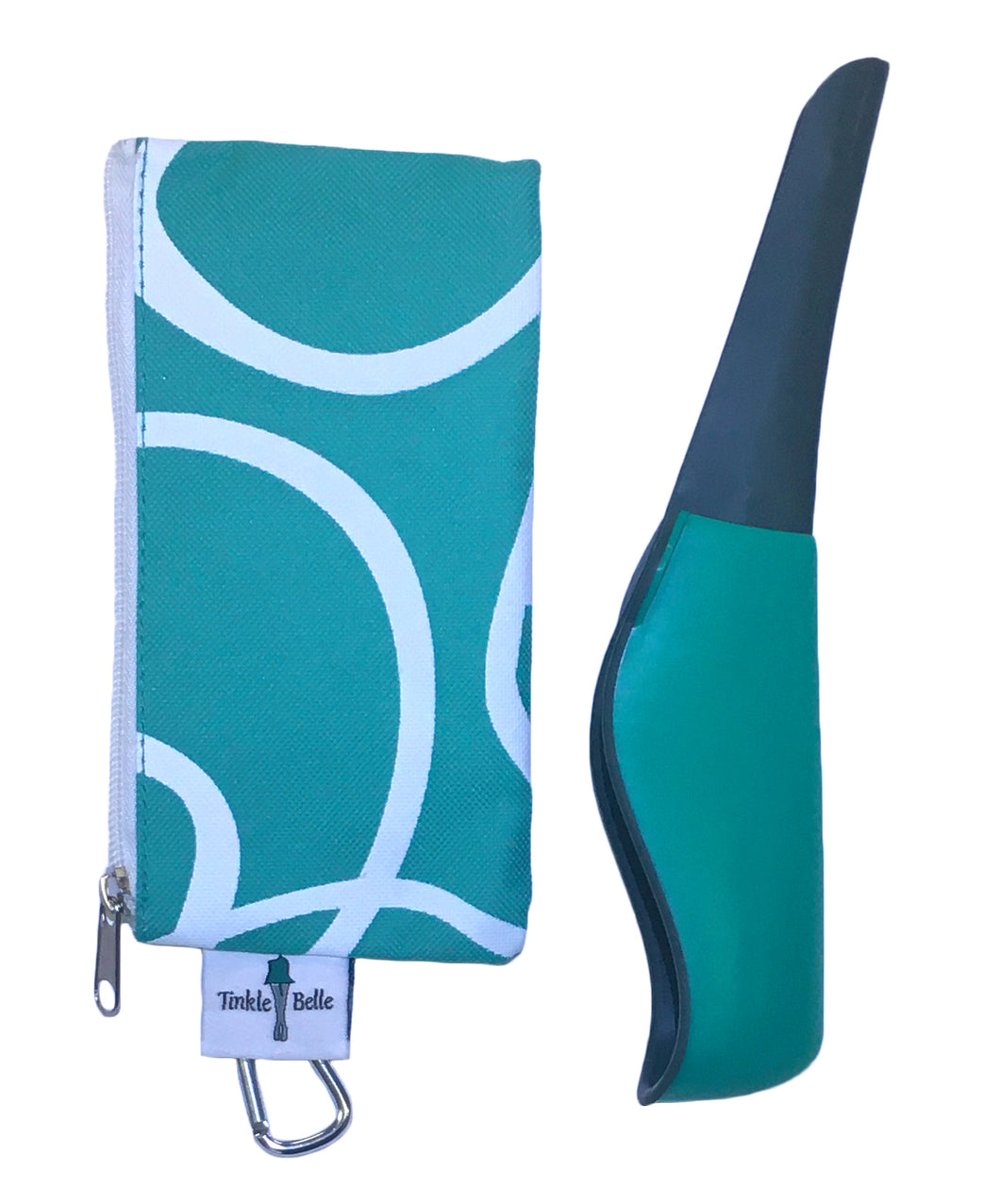 The Tinkle Belle Portable Female Urination Device, Teal and Grey with Case