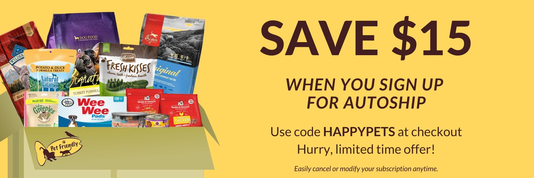 15$ off when you sign up for autoship using code happypets