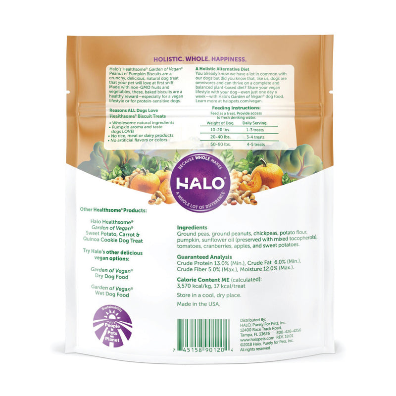Halo Healthsome Vegan With Peanut 'n Pumpkin Flavored Dog Treats