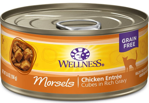 Wellness Grain Free Natural Chicken Morsels Entree Wet Canned Cat Food