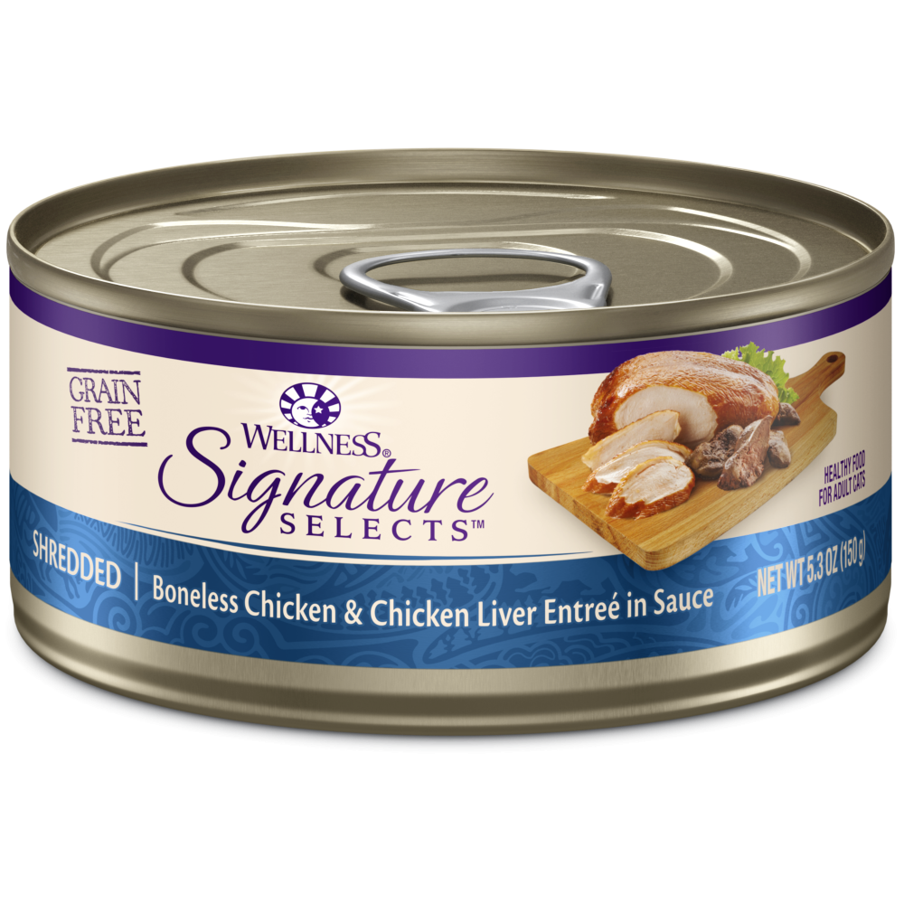 Wellness Signature Selects Grain Free Natural White Meat Chicken and Chicken Liver Entree in Sauce Wet Canned Cat Food