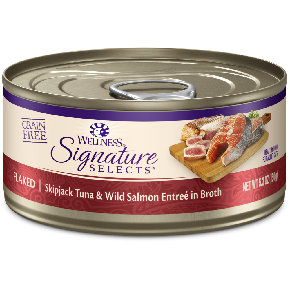 Wellness Signature Selects Grain Free Natural Skipjack Tuna with Wild Salmon Entree in Broth Wet Canned Cat Food