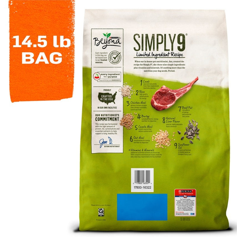 Purina Beyond Simply 9 Ranch Raised Lamb & Whole Barley Recipe Dry Dog Food
