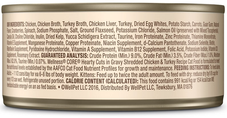 Wellness CORE Natural Grain Free Hearty Cuts Chicken and Turkey Canned Cat Food