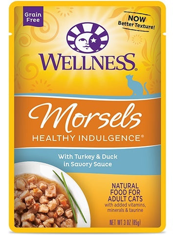 Wellness Healthy Indulgence Natural Grain Free Morsels with Turkey and Duck in Savory Sauce Cat Food Pouch