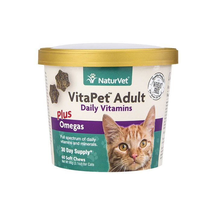 NaturVet VitaPet Adult Daily Vitamin Plus Omegas Aid Chewable Tablets for Cats
