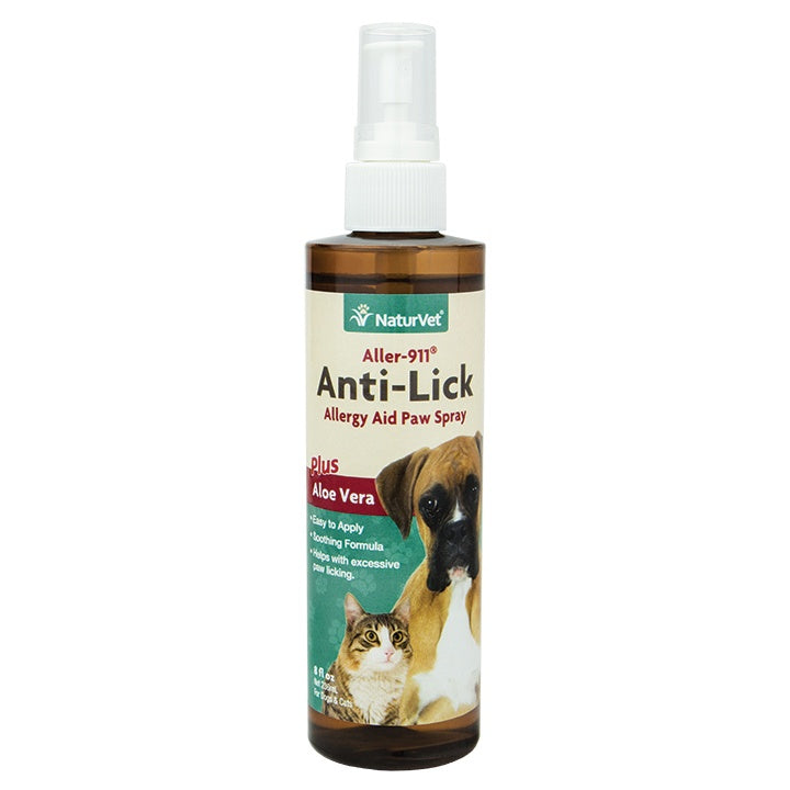 NaturVet Aller-911 Anti-Lick + Plus Aloe Vera Allergy Aid Spray for Dogs and Cats