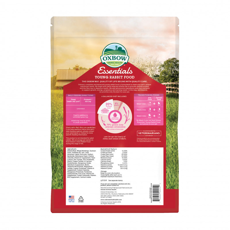 Oxbow Animal Health Essentials Young Rabbit Food All Natural Rabbit Pellets