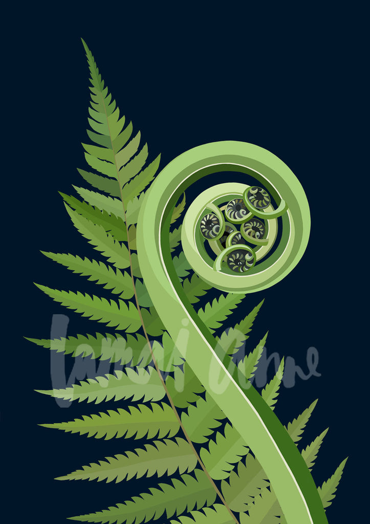 Koru Silver Fern Limited Edition Art Print